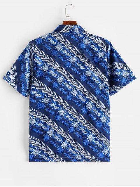 Geometric Graphic Print Casual Button Shirt - اللازورد الأزرق 2XL Mobile