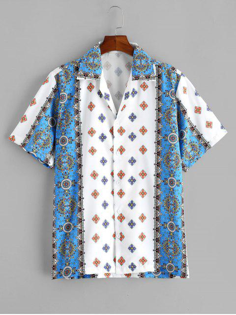 womens Floral Print Short Sleeve Button Vacation Shirt - WHITE S Mobile