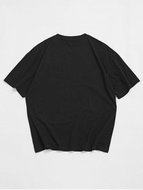 shop Cartoon Dinosaur Printed Round Neck T-shirt - BLACK 2XL Mobile