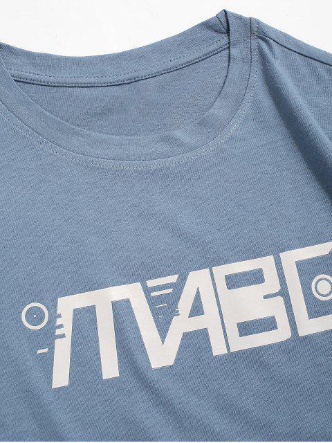 T-shirt Décontracté Graphique Imprimé à Col Rond - Bleu-gris 2XL Mobile