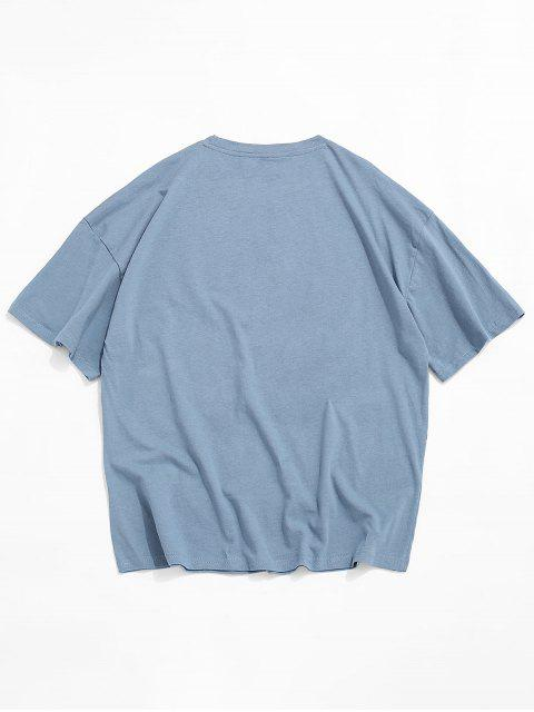 best Graphic Printed Round Neck Casual T-shirt - BLUE GRAY 3XL Mobile