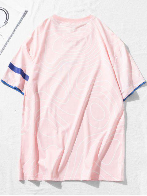 T-Shirt a Maniche Corte con Grafica Cinese - Rosa 3XL Mobile