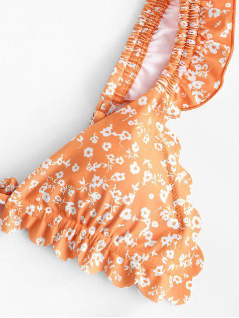 latest ZAFUL Floral Ruffle High Leg Bikini Swimwear - MANGO ORANGE L Mobile