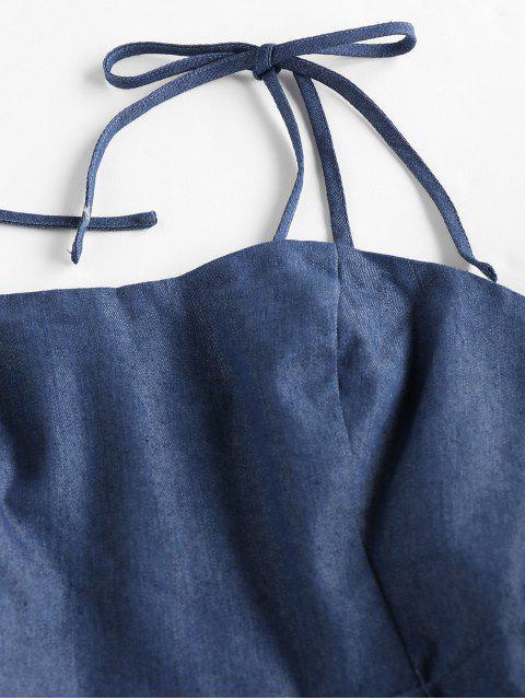 ZAFUL Robe Nouée Plissée en Vichy - Bleu Lapis L Mobile