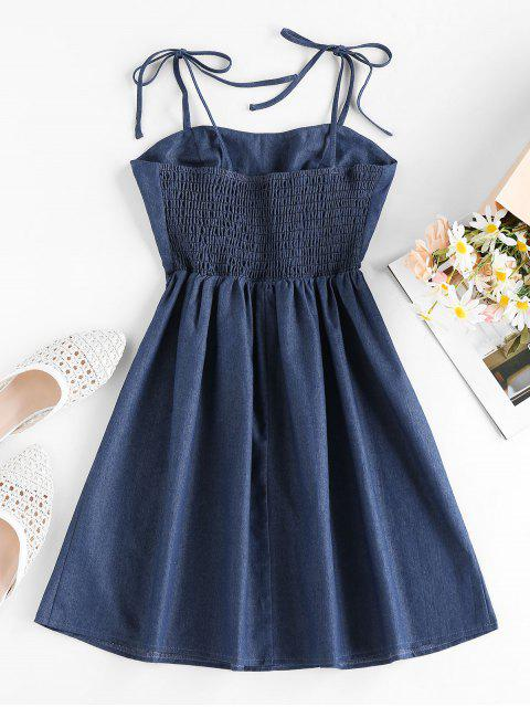 unique ZAFUL Tie Smocked Chambray Dress - LAPIS BLUE S Mobile