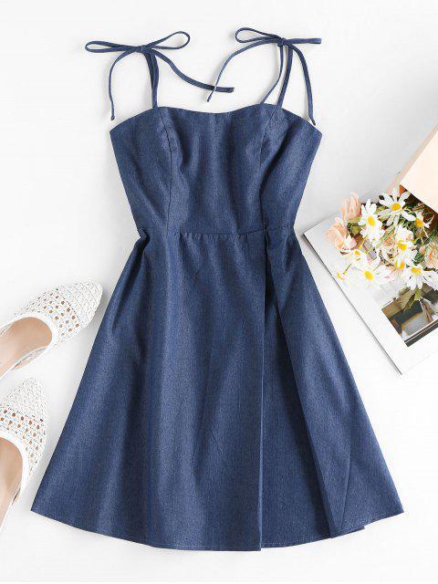 ZAFUL Robe Nouée Plissée en Vichy - Bleu Lapis XL Mobile