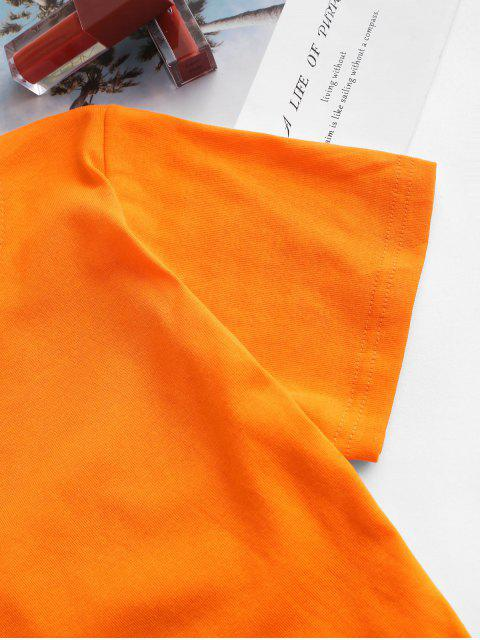 T-shirt de Mangas Curtas Costa Aberta com Torção nas Costas - Cor de Laranja de Tigre Um Tamanho Mobile