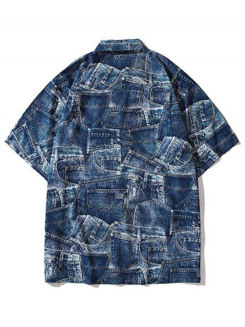 unique Denim Pirnt Pocket Button Shirt - COBALT BLUE M Mobile