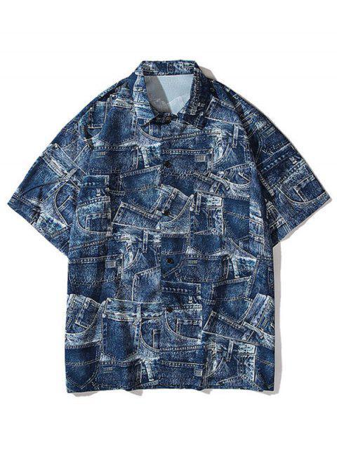 buy Denim Pirnt Pocket Button Shirt - COBALT BLUE 2XL Mobile