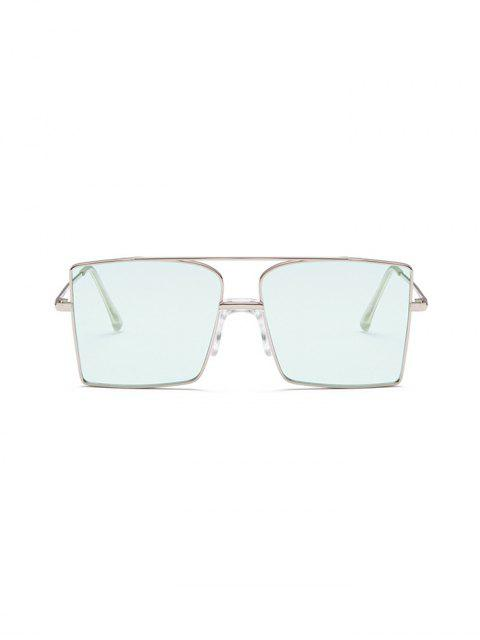 fancy Metal Bar Oversized Square Sunglasses - OCEAN BLUE  Mobile