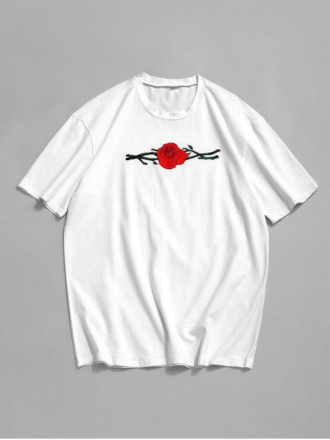 ZAFUL T-Shirt mit Kurzen Ärmeln und Rosenstickerei - Weiß 2XL Mobile