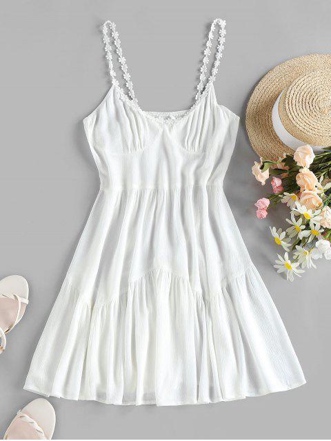 ZAFUL Blumen Applique Kittel Rückenfrei Falten Kleid - Weiß L Mobile