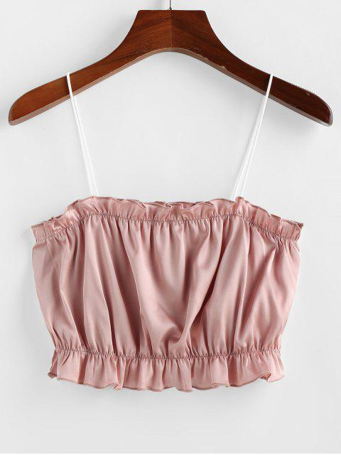 shops ZAFUL Contrast Straps Ruffle Crop Cami Top - PINK M Mobile