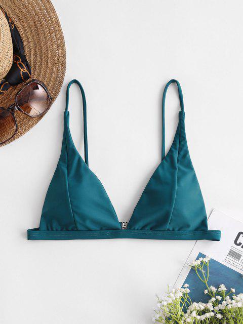ZAFUL Basic Plunge Bikini Top - الطاووس الأزرق S Mobile