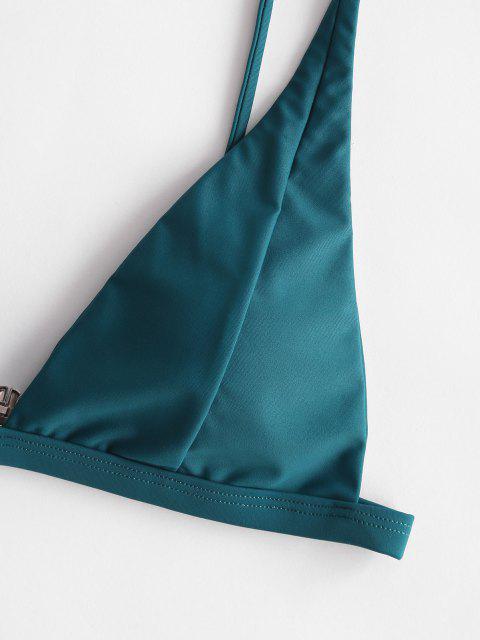 sale ZAFUL Basic Plunge Bikini Top - PEACOCK BLUE S Mobile