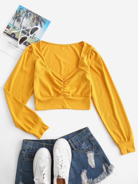 ladies Ribbed Ruched Crop Knitwear - MUSTARD M Mobile