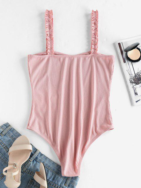 shops ZAFUL Frilled Ribbed Bodysuit - LIGHT PINK S Mobile