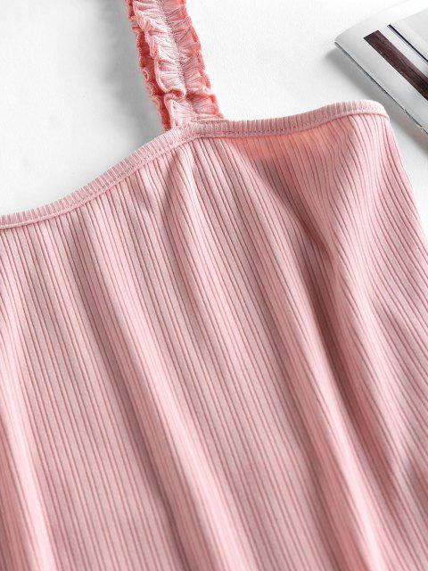 women's ZAFUL Frilled Ribbed Bodysuit - LIGHT PINK L Mobile