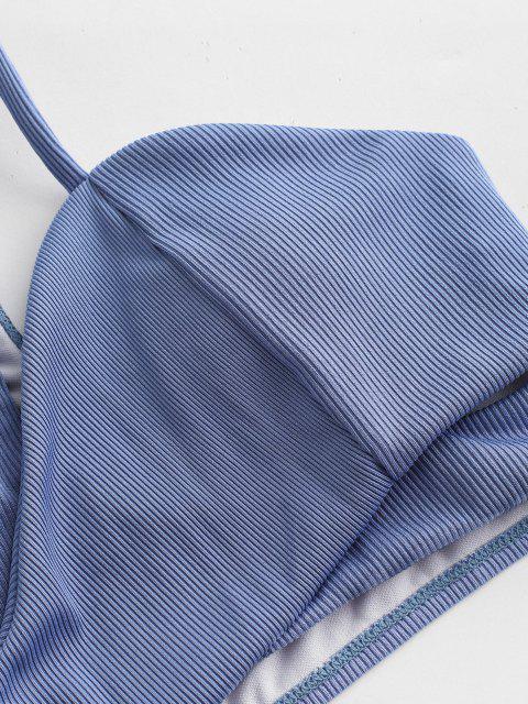 ZAFUL Maillot de Bain Tankini Croisé Découpé à Une Epaule - Bleu de Ciel  M Mobile