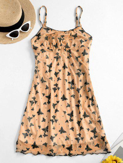 Ruched Front Butterfly Print Cami Dress - Sandy Brown L