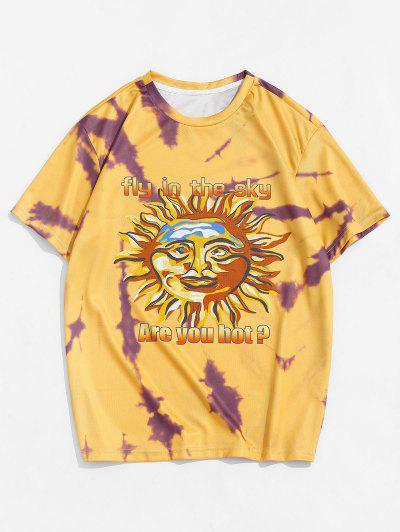 Camiseta De Mangas Cortas Con Estampado De Sol En Color - Amarillo Brillante M