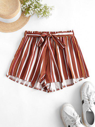 Tie Colorful Striped Shorts - Chestnut Red M