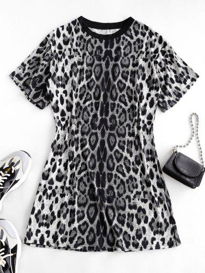 Leopard Print Long T-shirt - Black L