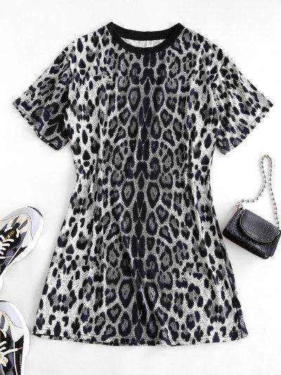 Leopard Print Long T-shirt - Black M
