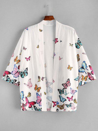ZAFUL Open Front Butterfly Kimono Blouse - White M
