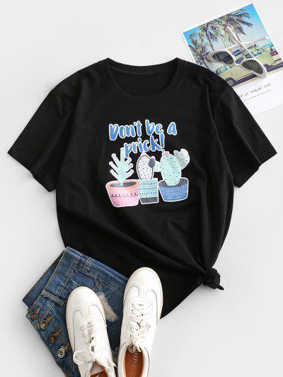 Potting Cactus Print Don't Be A Prick Short Sleeve T-shirt - Black S