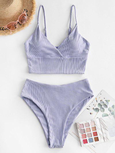 ZAFUL Ribbed High Cut Surplice Tankini Swimsuit - Lavender Blue M