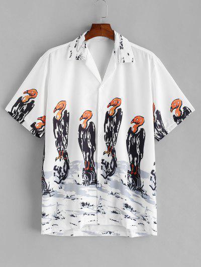Bird Oriental Painting Print Short Sleeve Shirt - White 2xl