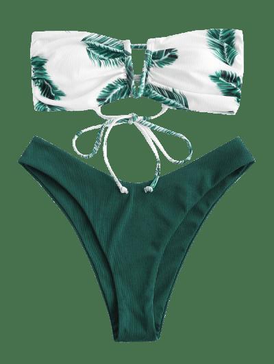 ZAFUL Ribbed Leaf Print V-wired Bandeau Bikini Swimwear