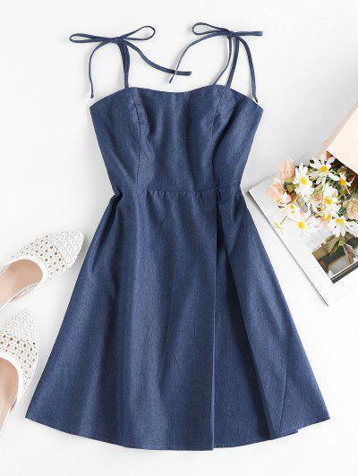 ZAFUL Tie Smocked Chambray Dress - Lapis Blue S