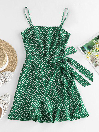 ZAFUL Vestido De Sol Con Nudo Y Estampado De Flor - Verde S