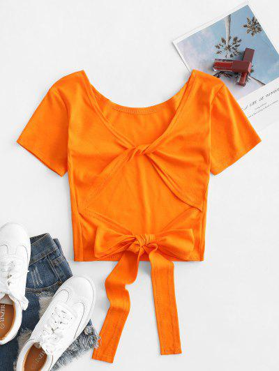 Plain Twist Back Backless Short Sleeve T Shirt - Tiger Orange