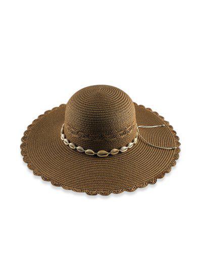 Beach Shells Scalloped Straw Hat - Coffee