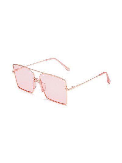 Metal Bar Oversized Square Sunglasses - Pink