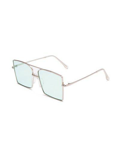 Metal Bar Oversized Square Sunglasses - Ocean Blue