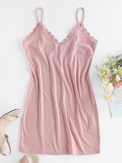 ZAFUL Lace Trim Ribbed Bodycon Cami Dress - Light Pink S