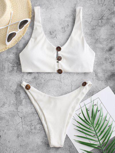 ZAFUL Button Loop Ribbed High Cut Bikini Swimwear - White S