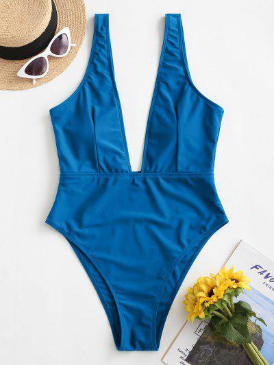 Maiô Com Corte Alto E Decote Profundo - Oceano Azul L