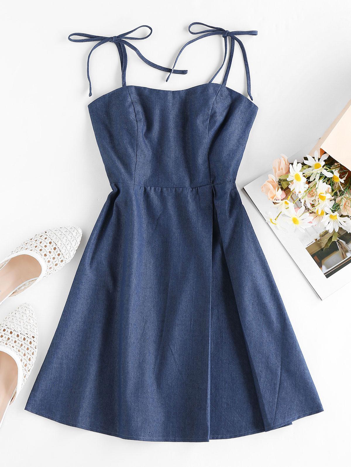 ZAFUL Tie Smocked Chambray Dress