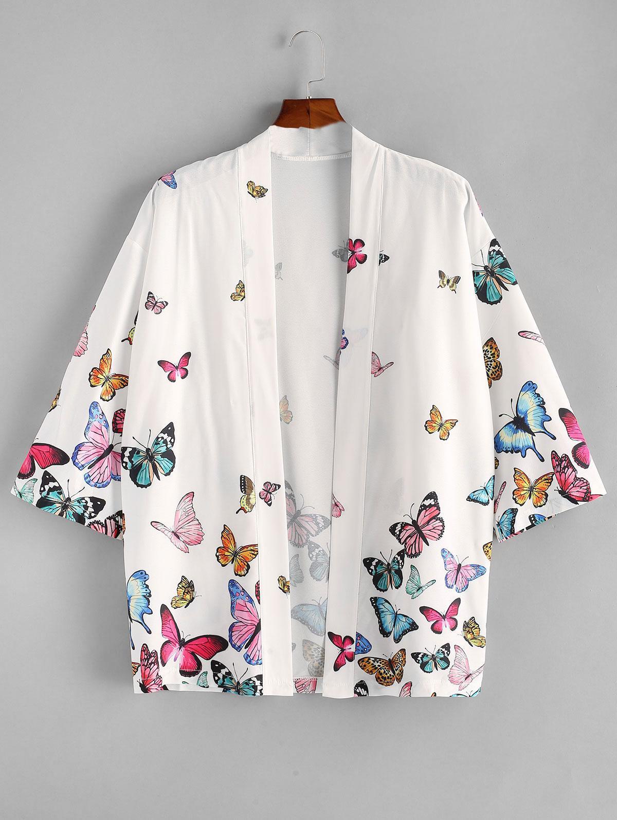ZAFUL Open Front Butterfly Kimono Blouse