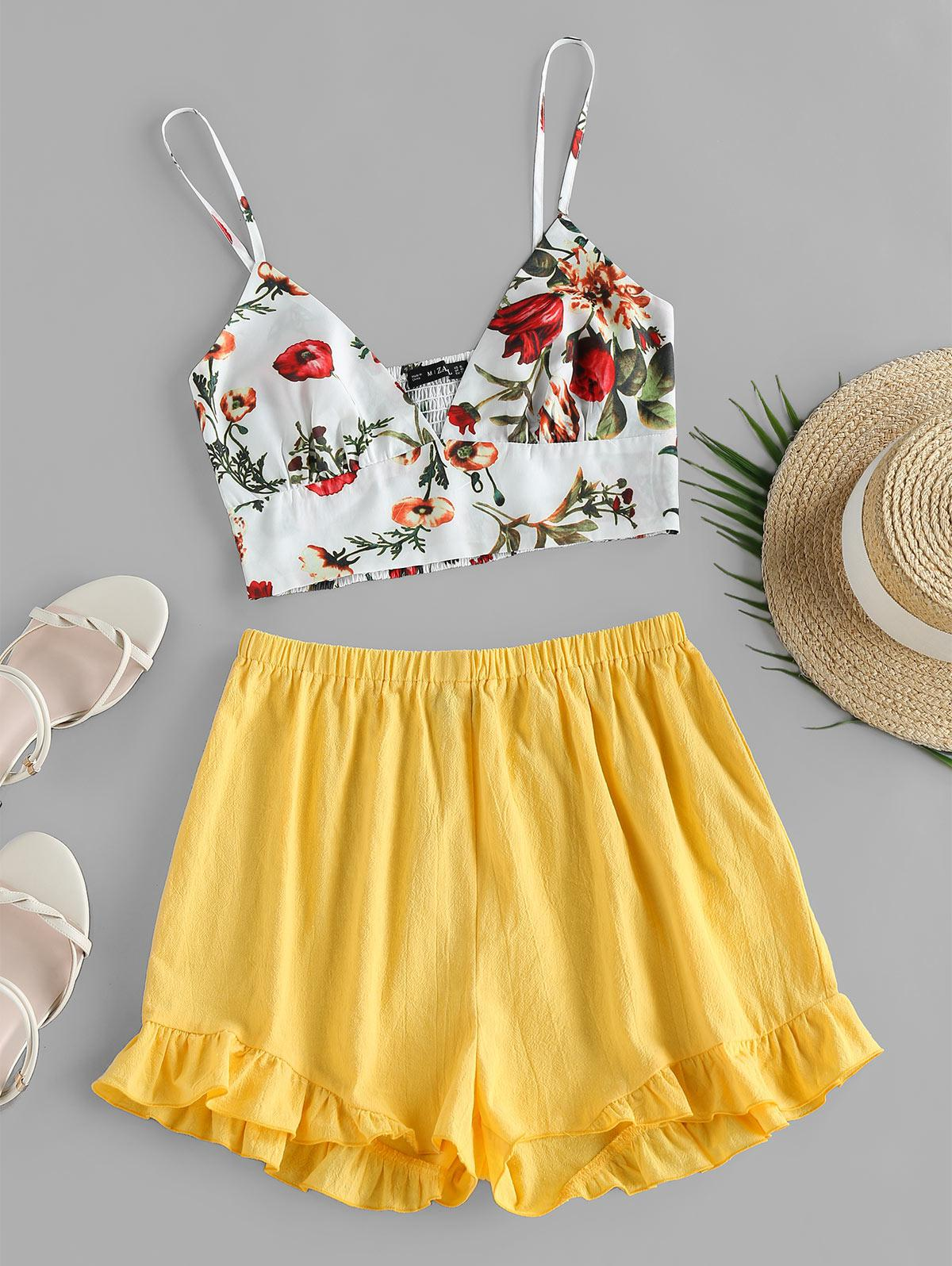 ZAFUL Floral Ruffle Two Piece Set