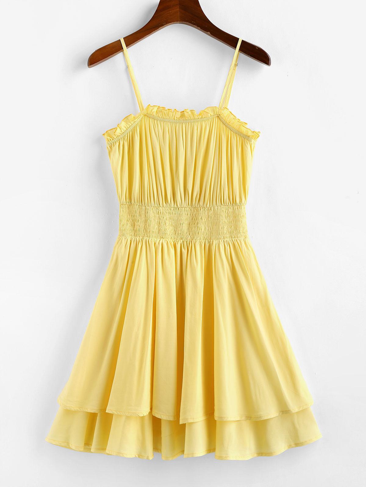 ZAFUL Layered Smocked Waist Cami Dress