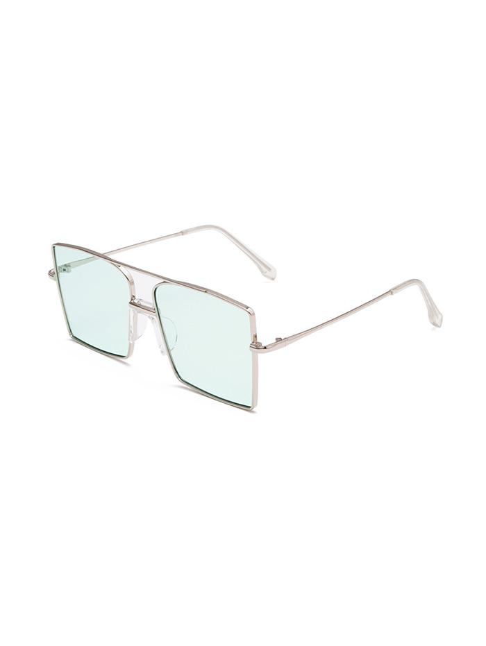 Metal Bar Oversized Square Sunglasses