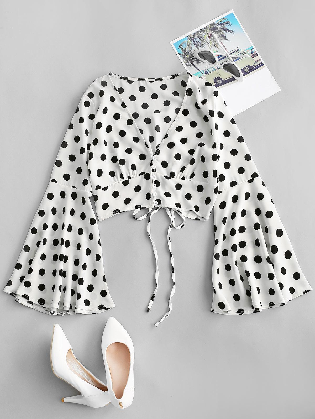 Polka Dot Flare Sleeve Lace Up Plunging Blouse