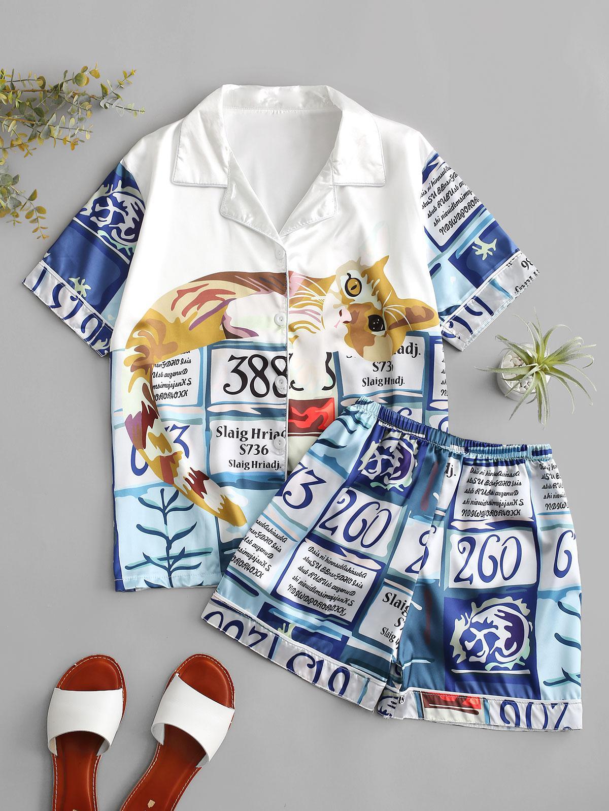 Cat Letter Print Silky Pajama Shorts Set