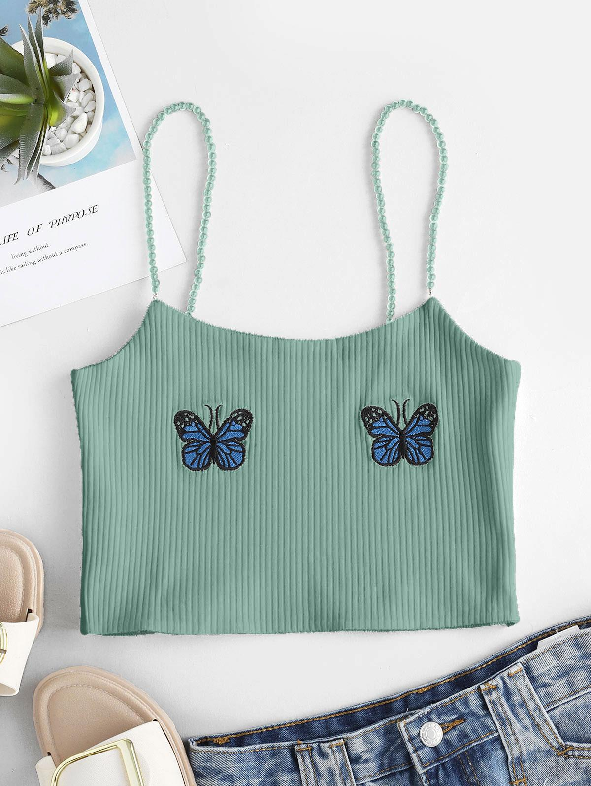 Faux Pearl Ribbed Butterfly Embroidered Cami Top